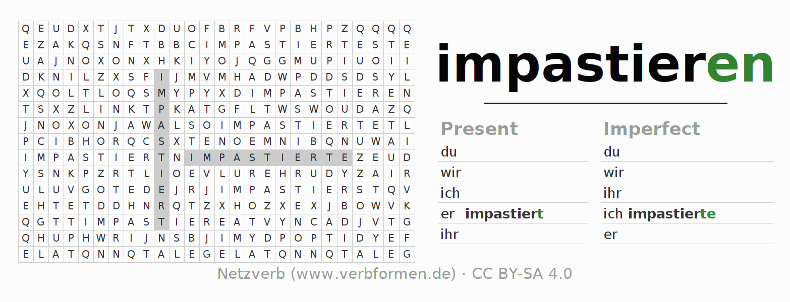 Word search puzzle for the conjugation of the verb impastieren