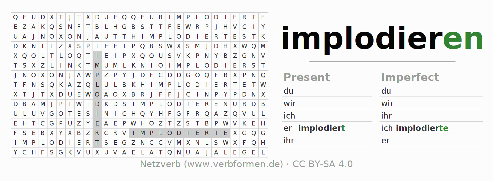 Word search puzzle for the conjugation of the verb implodieren