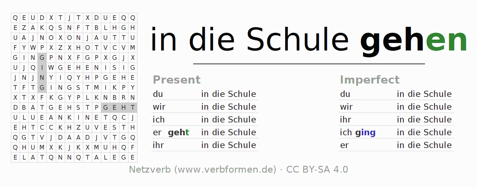 Word search puzzle for the conjugation of the verb in die Schule gehen