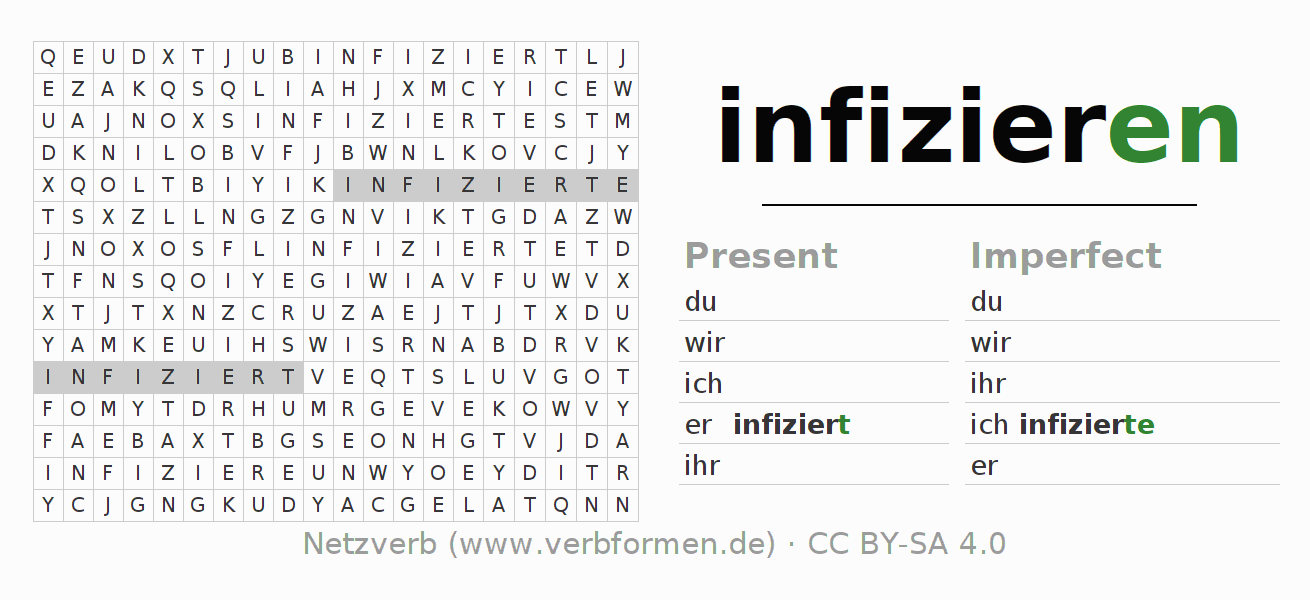 Word search puzzle for the conjugation of the verb infizieren