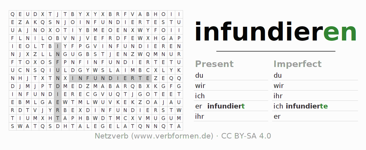 Word search puzzle for the conjugation of the verb infundieren