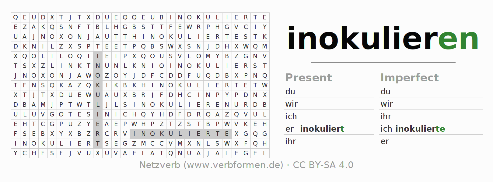 Word search puzzle for the conjugation of the verb inokulieren