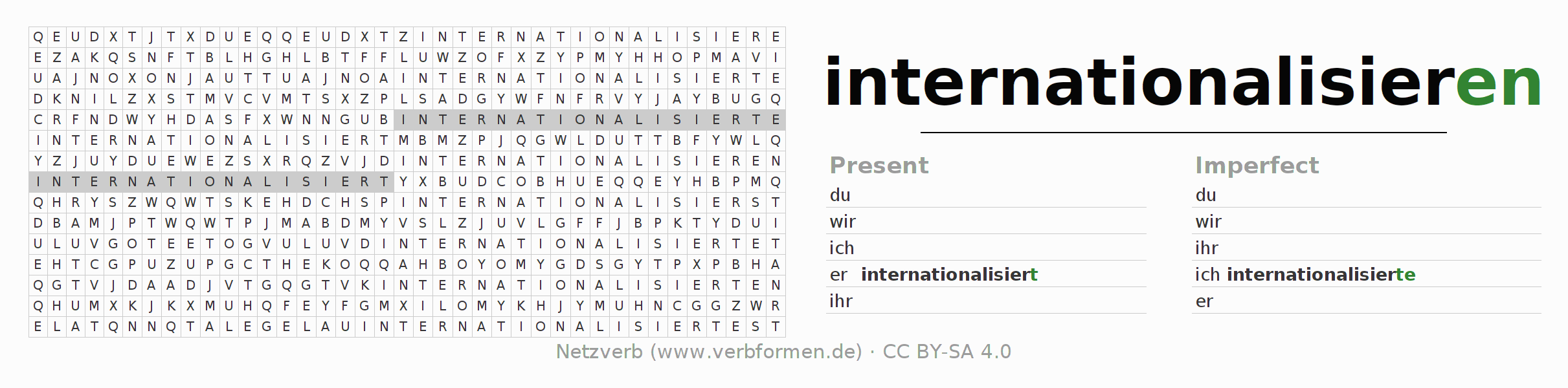Word search puzzle for the conjugation of the verb internationalisieren