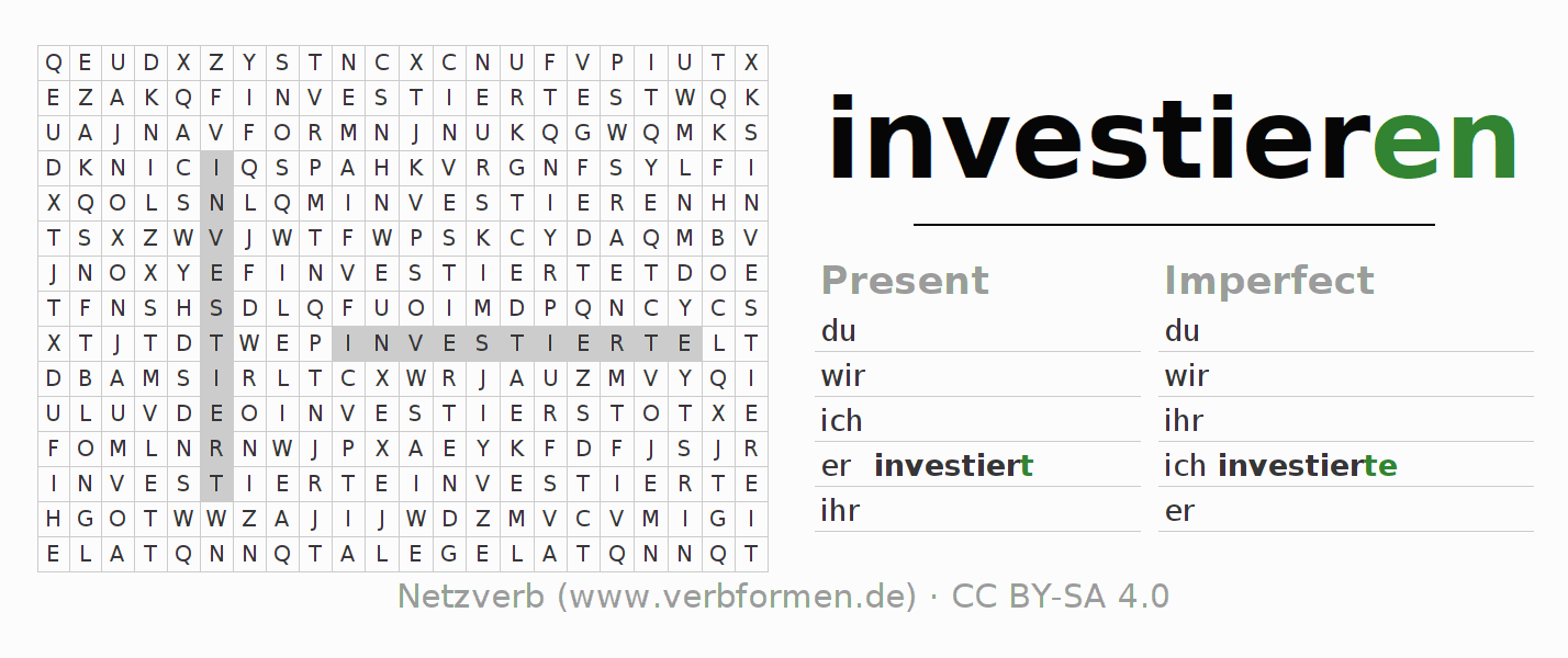Word search puzzle for the conjugation of the verb investieren