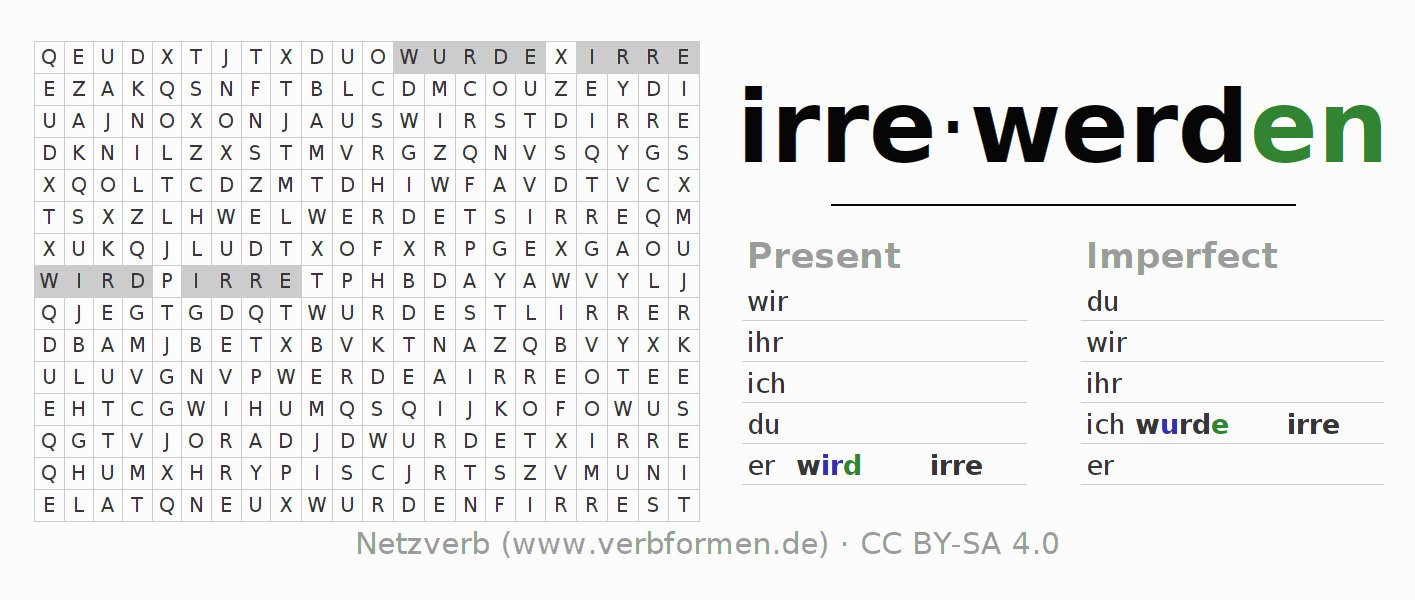 Worksheets | Verb irrewerden | Exercises for conjugation of German ...