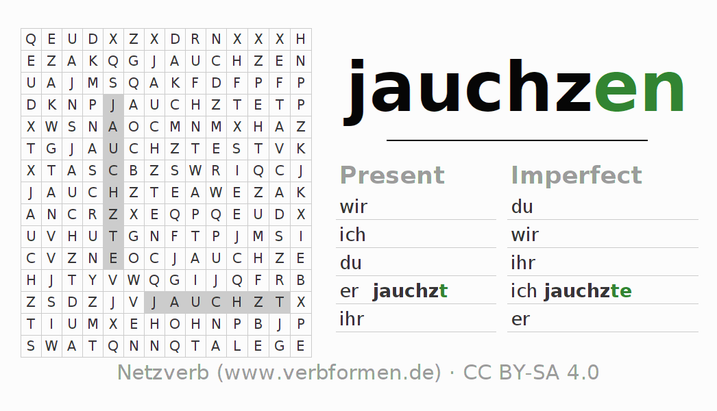 Word search puzzle for the conjugation of the verb jauchzen