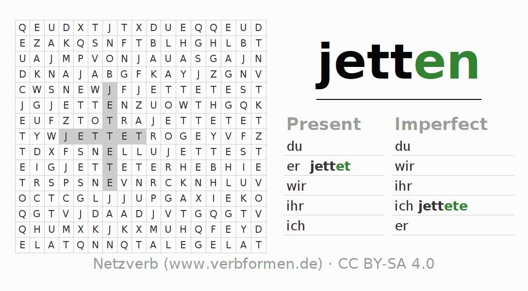 Word search puzzle for the conjugation of the verb jetten (ist)