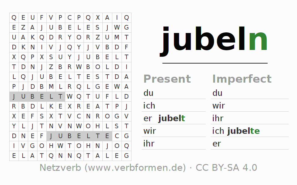 Word search puzzle for the conjugation of the verb jubeln