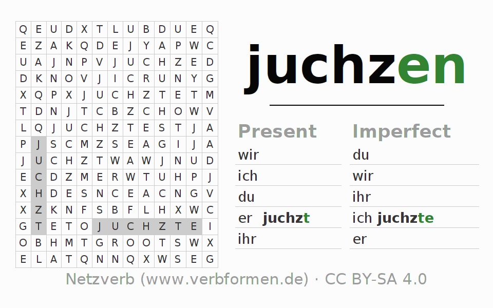Word search puzzle for the conjugation of the verb juchzen