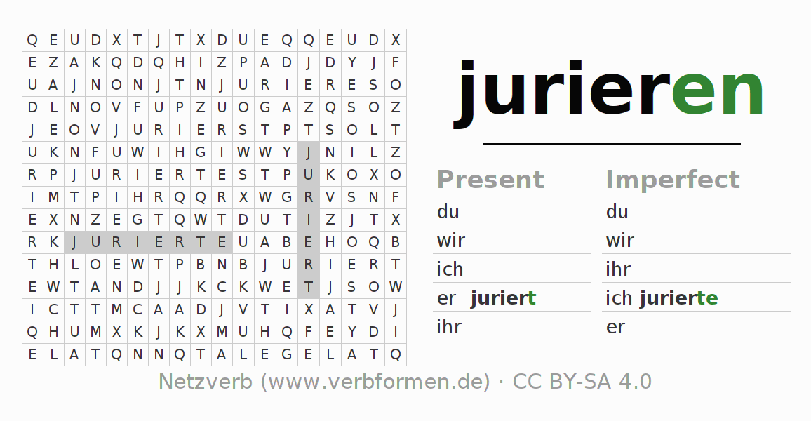 Word search puzzle for the conjugation of the verb jurieren