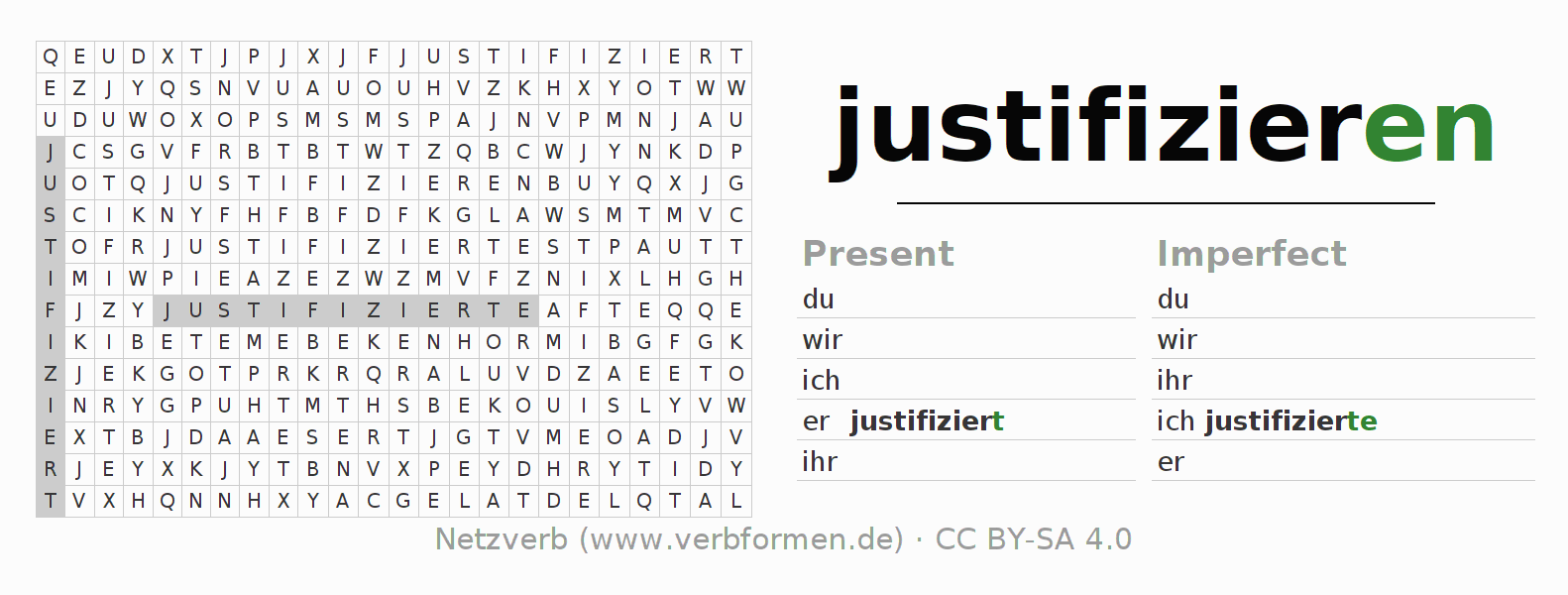 Word search puzzle for the conjugation of the verb justifizieren