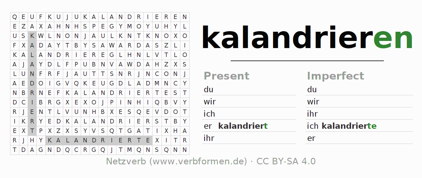 Word search puzzle for the conjugation of the verb kalandrieren