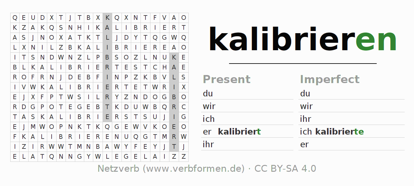 Word search puzzle for the conjugation of the verb kalibrieren