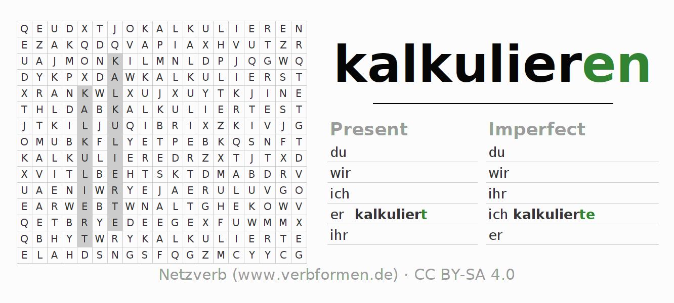 Word search puzzle for the conjugation of the verb kalkulieren