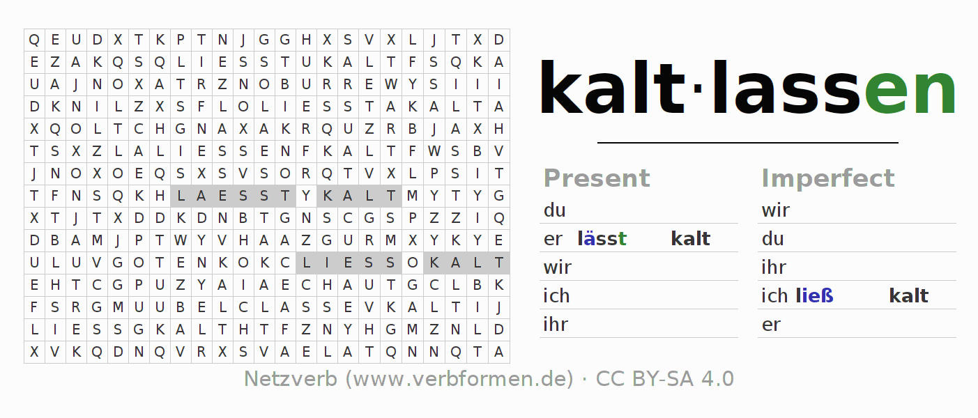 Word search puzzle for the conjugation of the verb kaltlassen