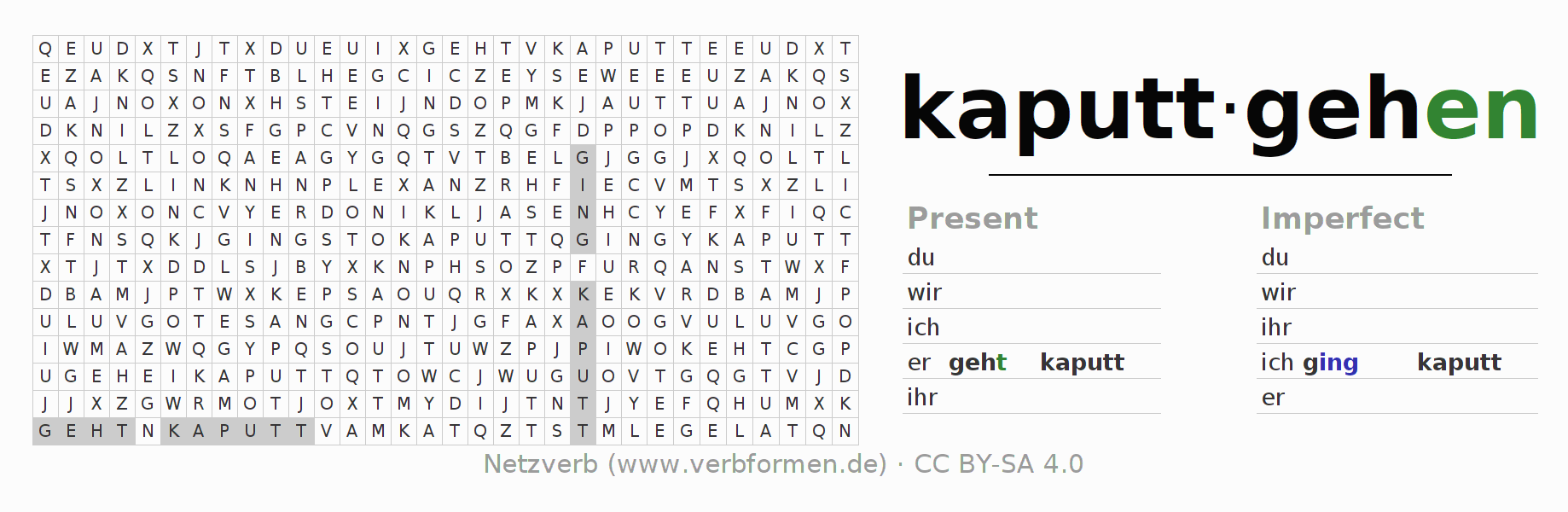 Word search puzzle for the conjugation of the verb kaputtgehen
