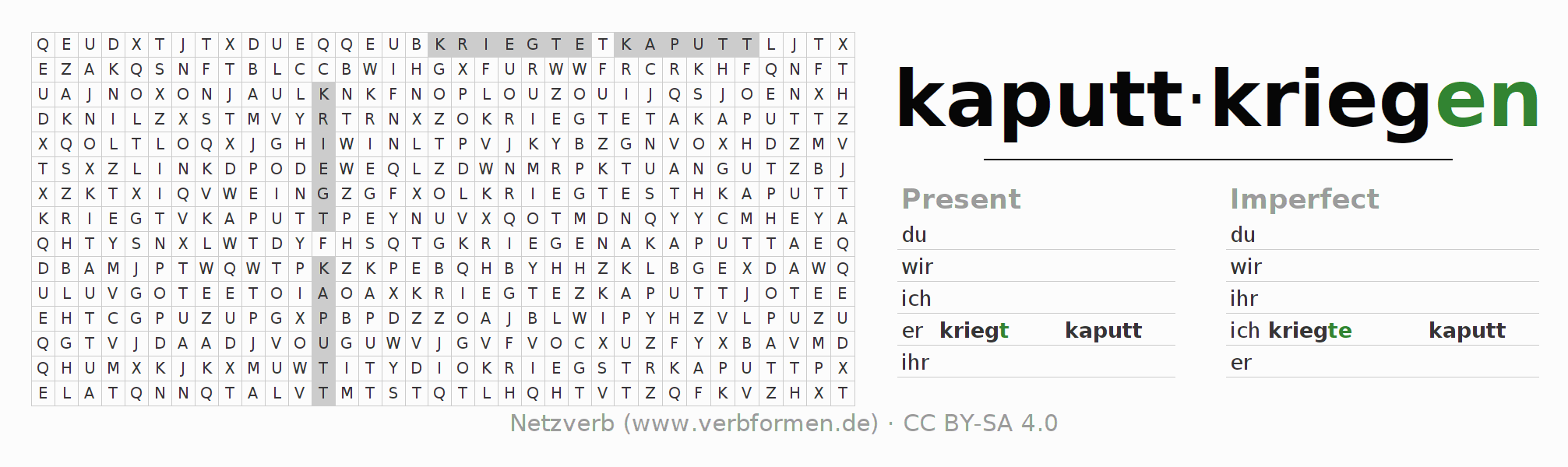 Word search puzzle for the conjugation of the verb kaputtkriegen