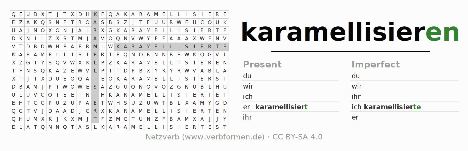 Word search puzzle for the conjugation of the verb karamellisieren