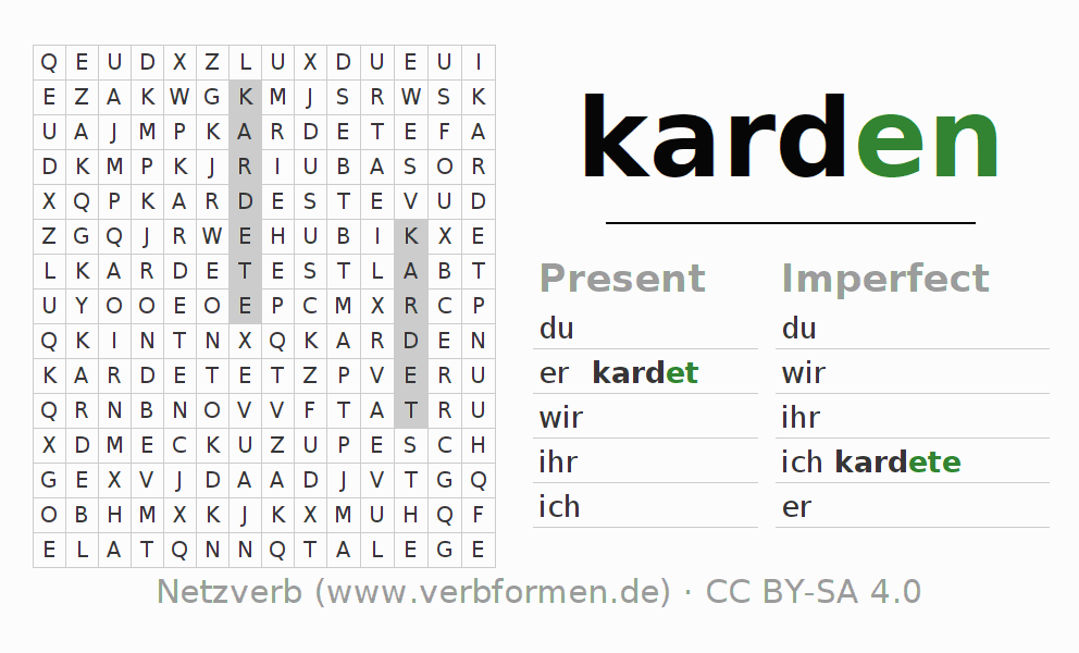 Word search puzzle for the conjugation of the verb karden
