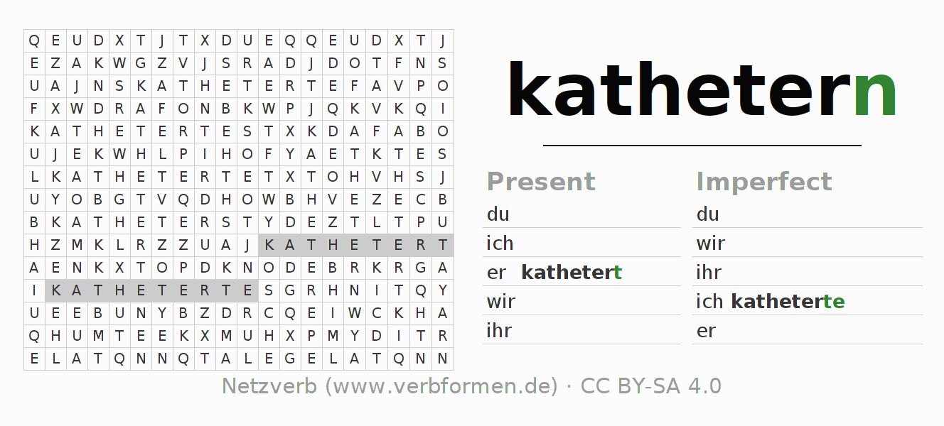 Word search puzzle for the conjugation of the verb kathetern