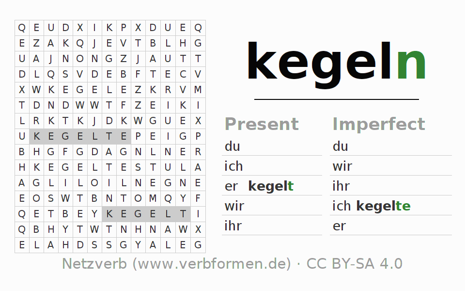 Word search puzzle for the conjugation of the verb kegeln (hat)