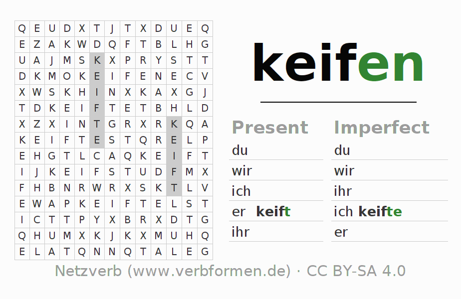 Word search puzzle for the conjugation of the verb keifen