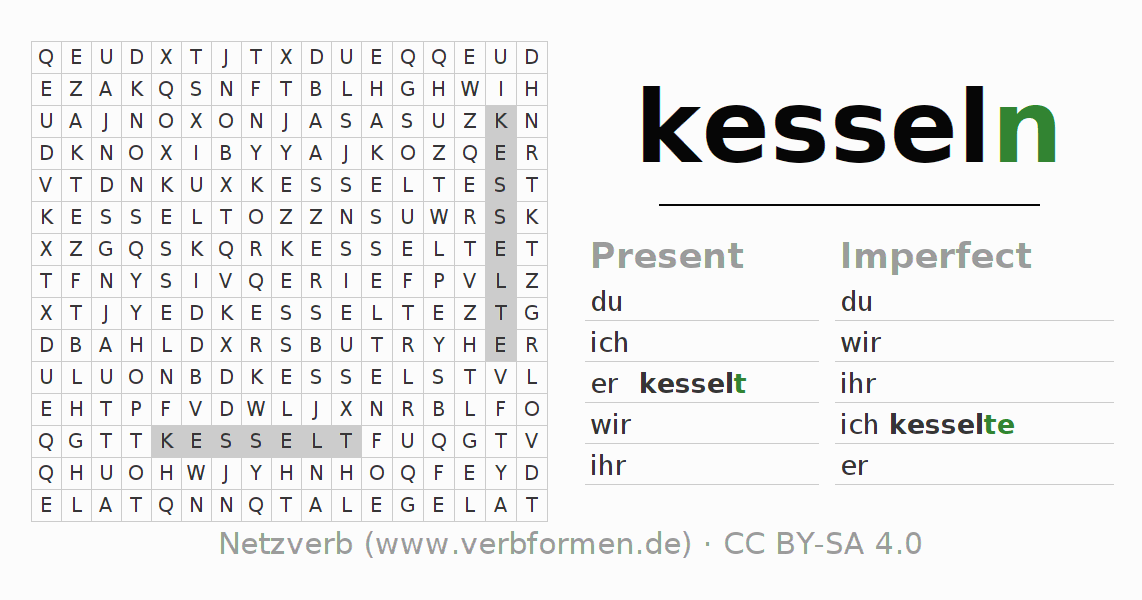 Word search puzzle for the conjugation of the verb kesseln