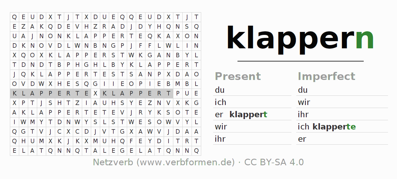 Word search puzzle for the conjugation of the verb klappern (hat)