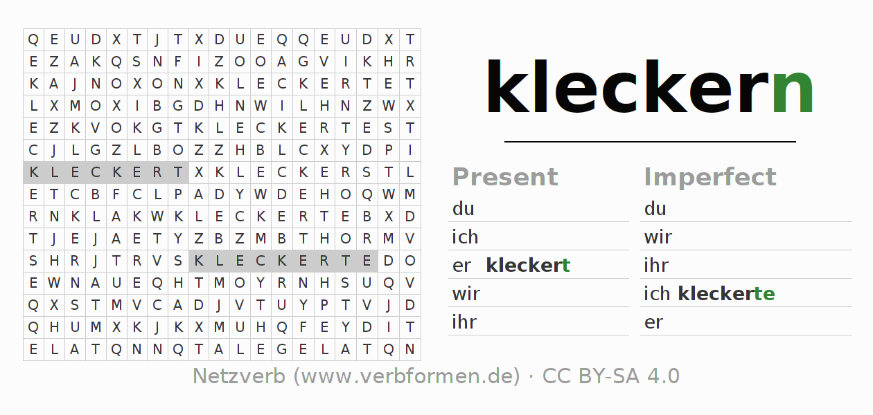 Word search puzzle for the conjugation of the verb kleckern (hat)