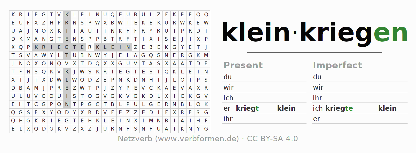 Word search puzzle for the conjugation of the verb kleinkriegen