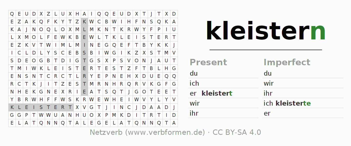 Word search puzzle for the conjugation of the verb kleistern