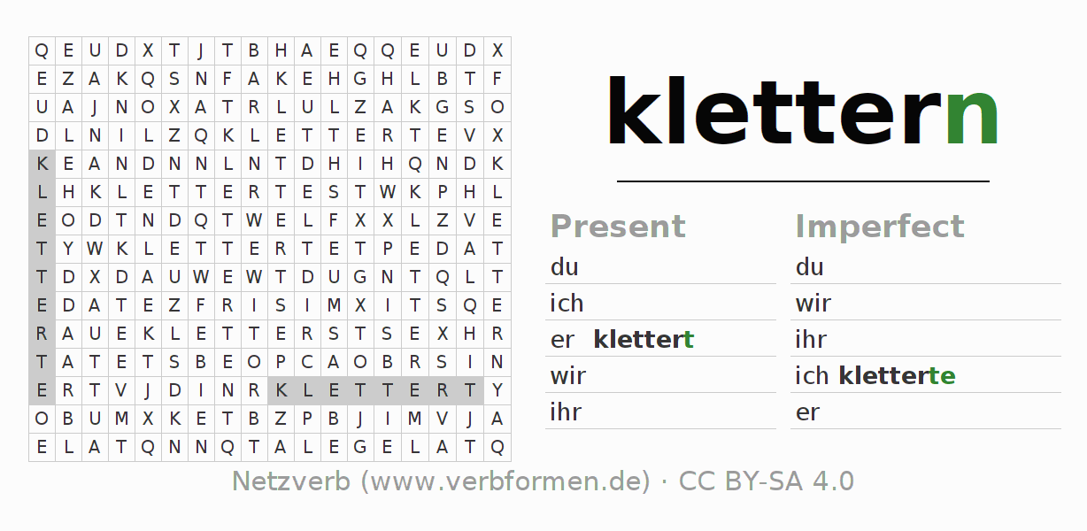 Word search puzzle for the conjugation of the verb klettern (ist)