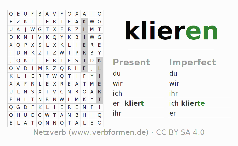 Word search puzzle for the conjugation of the verb klieren