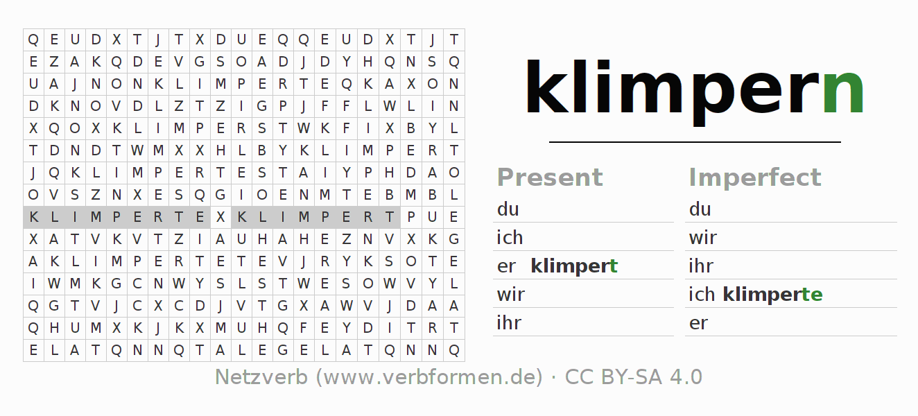 Word search puzzle for the conjugation of the verb klimpern
