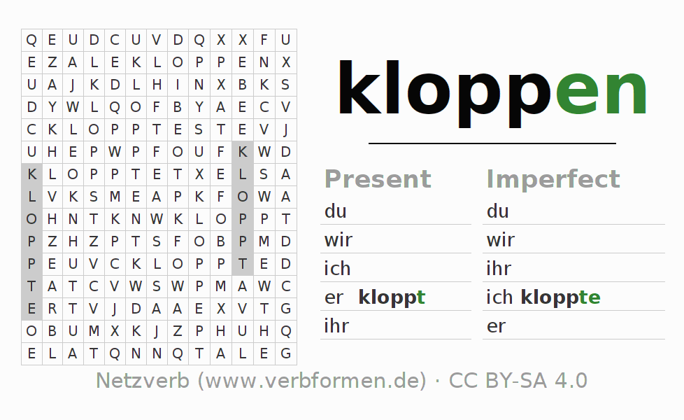 Word search puzzle for the conjugation of the verb kloppen