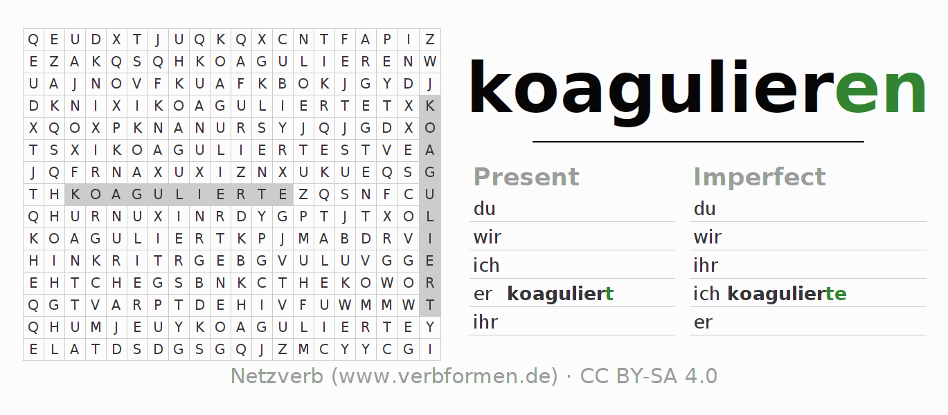 Word search puzzle for the conjugation of the verb koagulieren (hat)