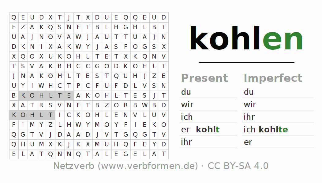 Word search puzzle for the conjugation of the verb kohlen