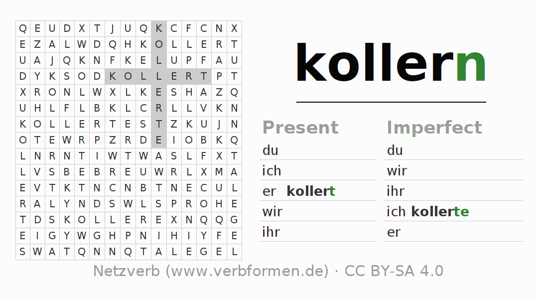 Word search puzzle for the conjugation of the verb kollern (hat)