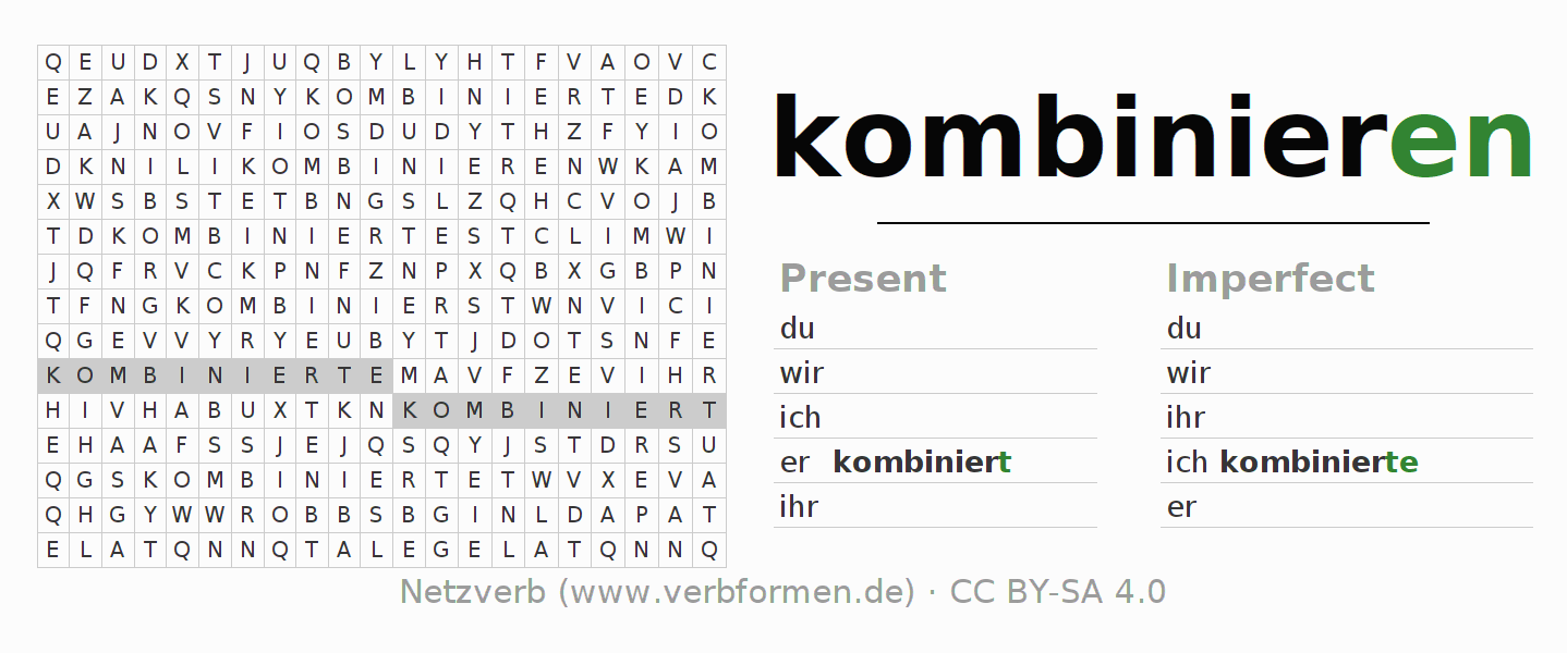 Word search puzzle for the conjugation of the verb kombinieren