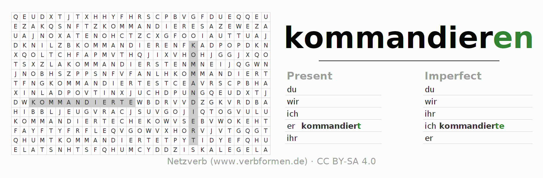 Word search puzzle for the conjugation of the verb kommandieren