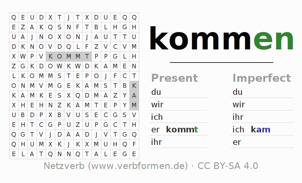 Word search puzzle for the conjugation of the verb kommen