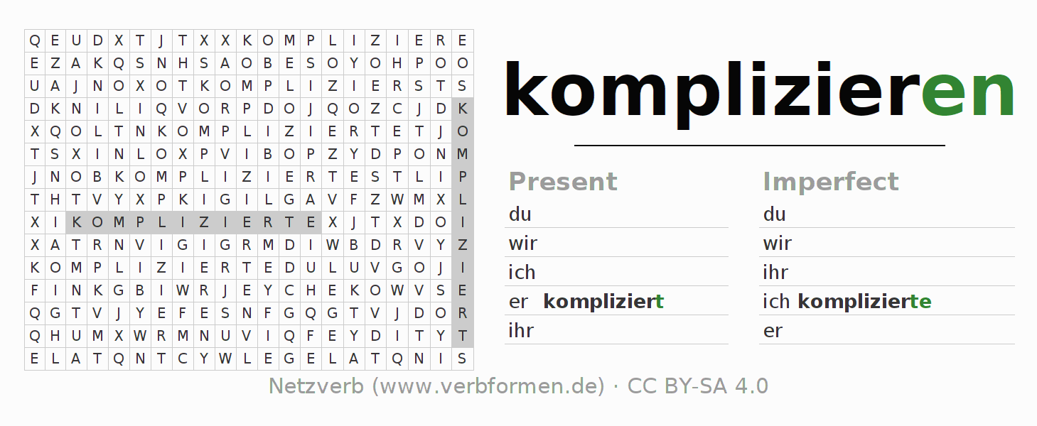 Word search puzzle for the conjugation of the verb komplizieren