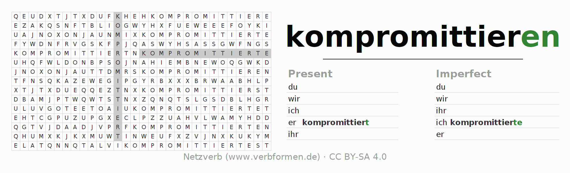 Word search puzzle for the conjugation of the verb kompromittieren