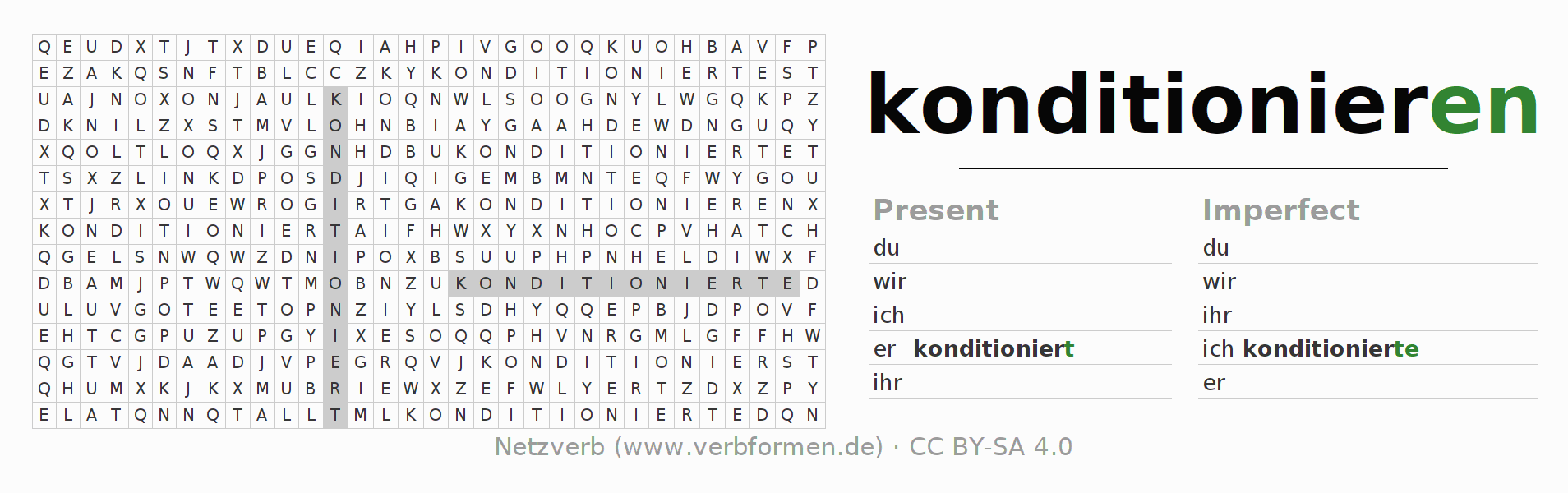 Word search puzzle for the conjugation of the verb konditionieren