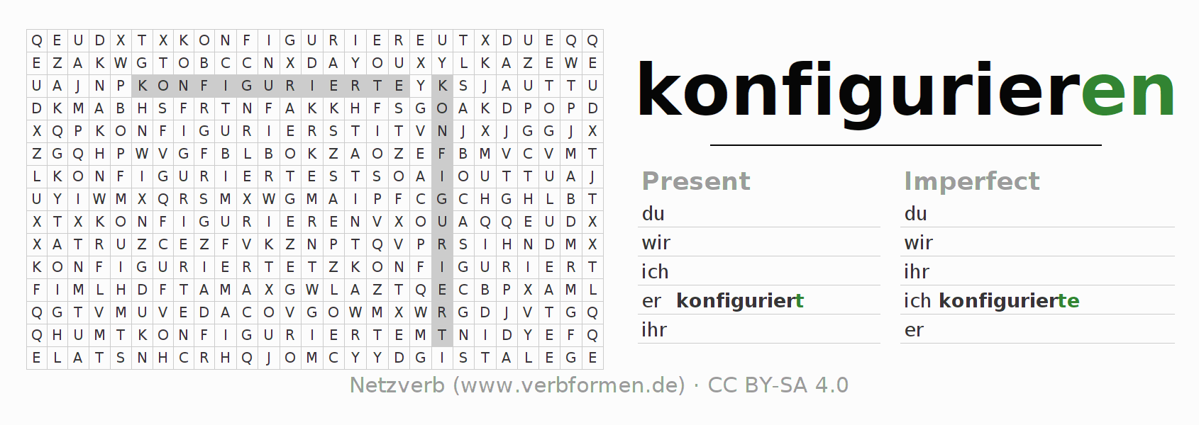 Word search puzzle for the conjugation of the verb konfigurieren