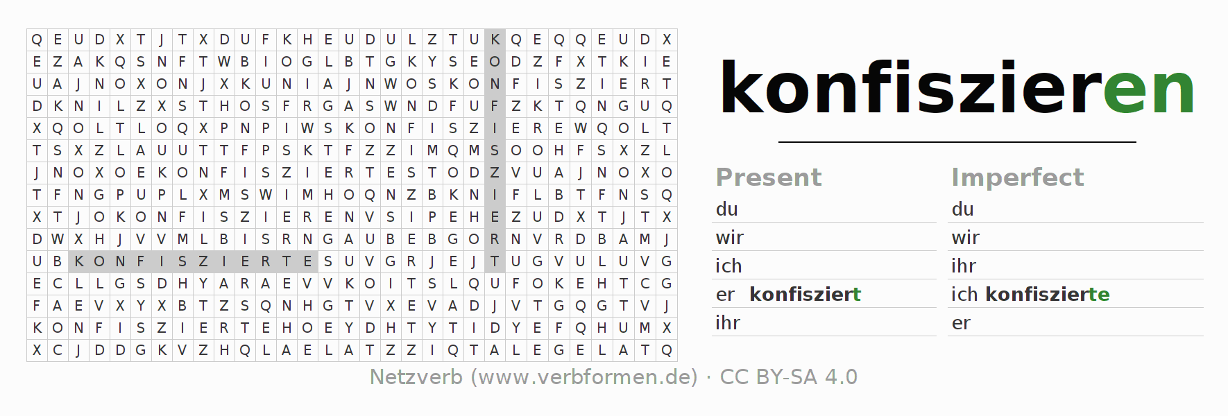 Word search puzzle for the conjugation of the verb konfiszieren