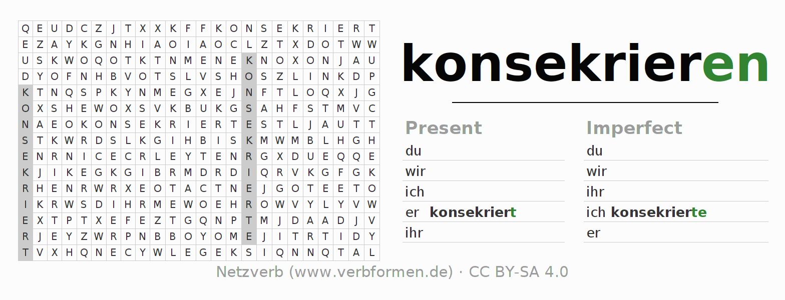 Word search puzzle for the conjugation of the verb konsekrieren