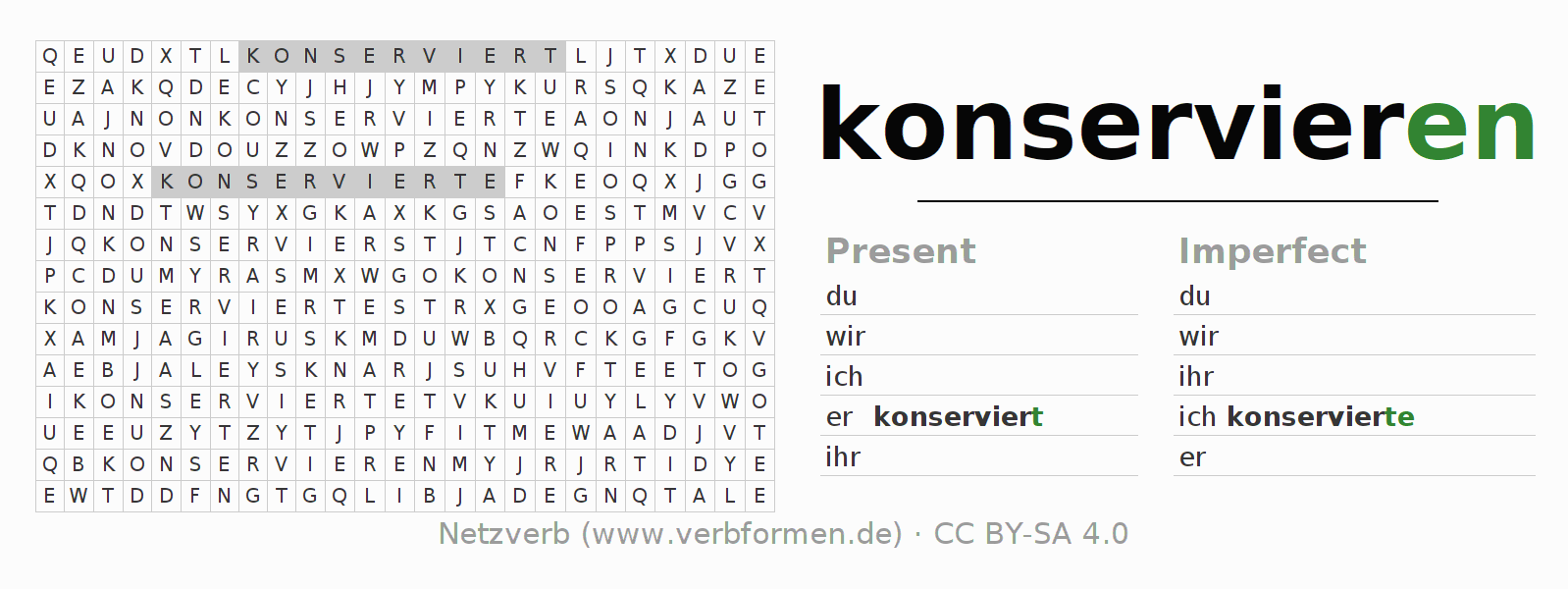 Word search puzzle for the conjugation of the verb konservieren