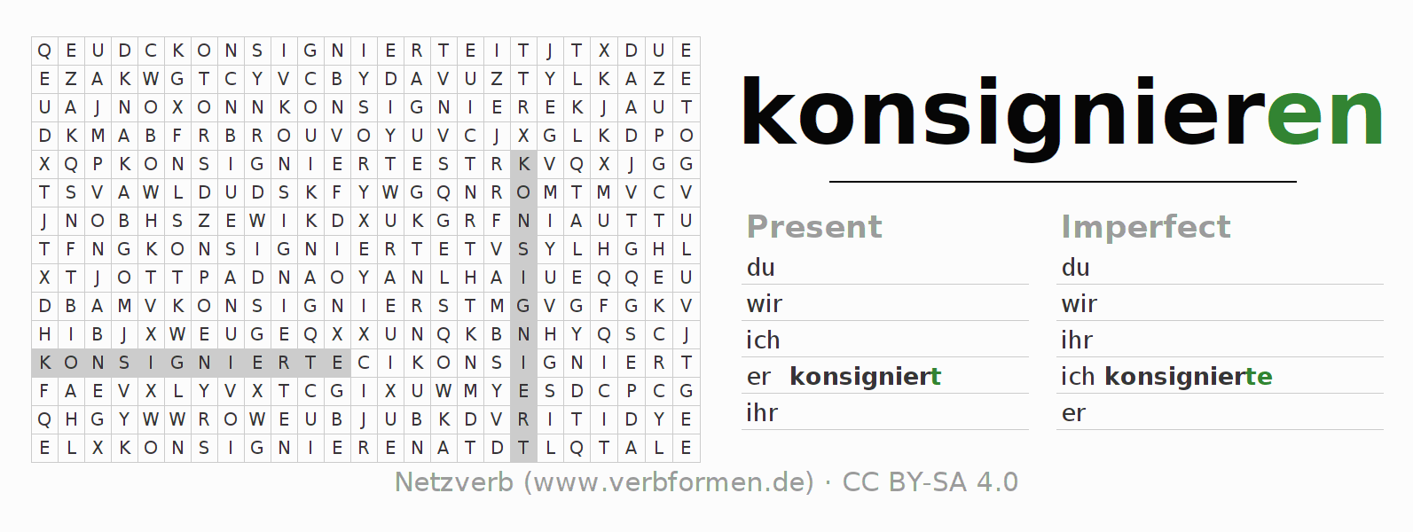 Word search puzzle for the conjugation of the verb konsignieren