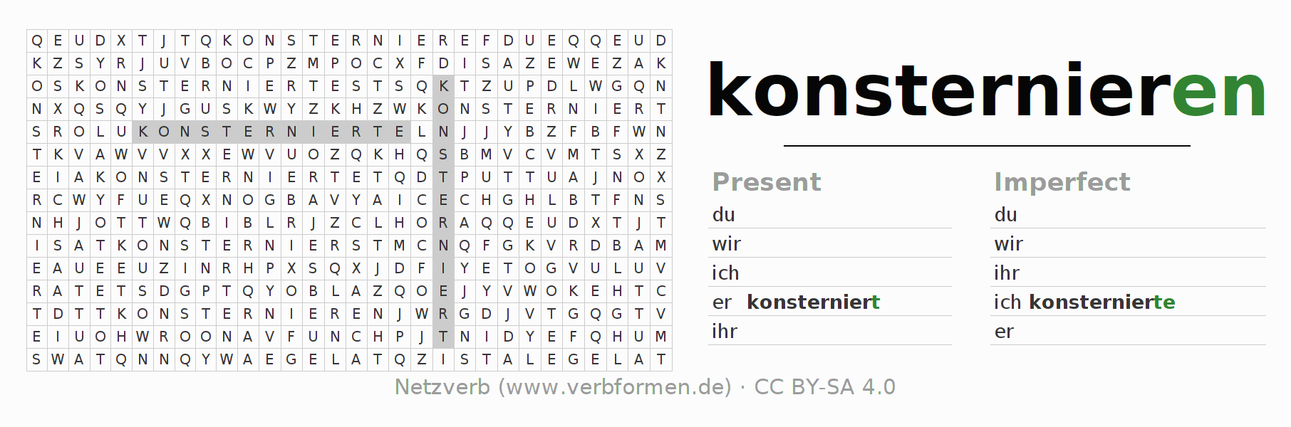 Word search puzzle for the conjugation of the verb konsternieren